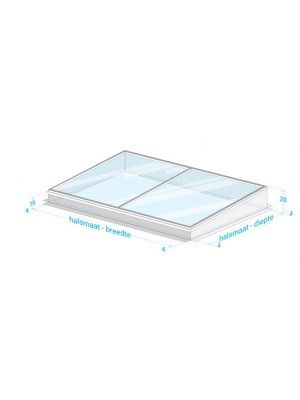 Vlakke lichtstraat Vrijstaand HR++ veiligheidsglas uit 2 delen glas